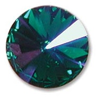 14 mm Swarovski Rivoli Emerald Glacier Blue Foiled